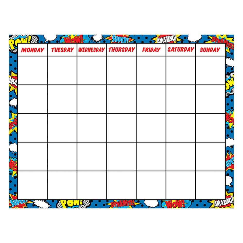 Free Comic Book Day Values: Superhero Calendar Chart - TCR7569