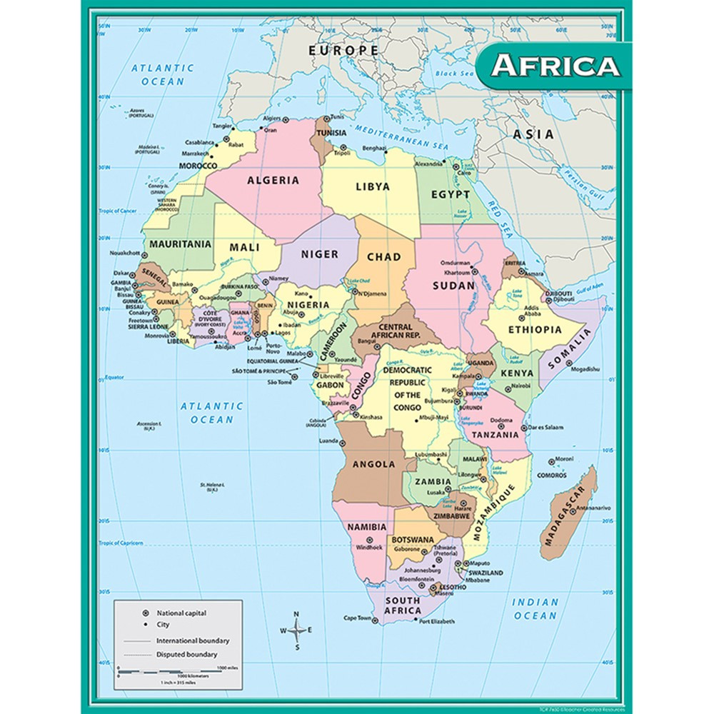 TCR7650 - Africa Map Chart 17X22 in Maps & Map Skills