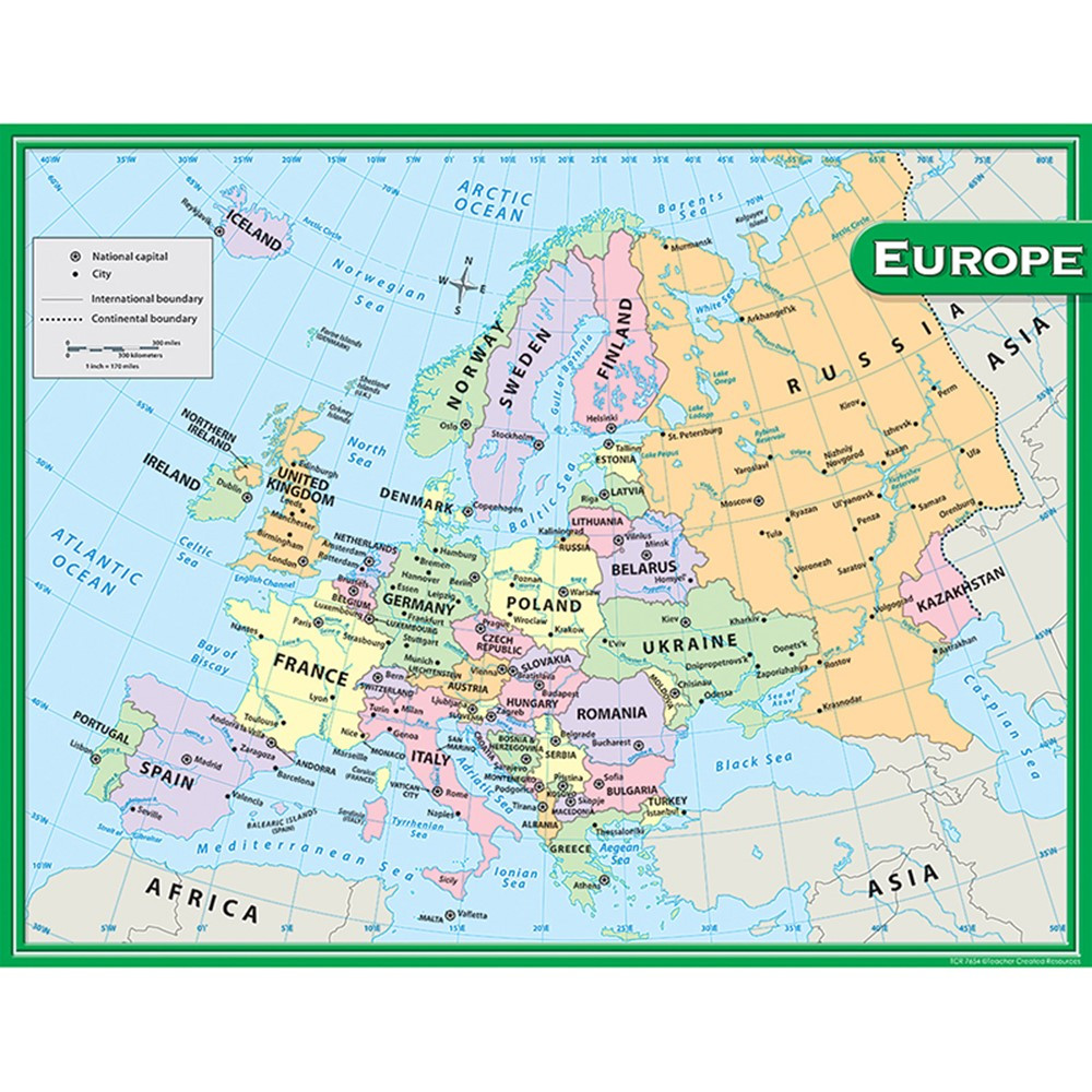 TCR7654 - Europe Map Chart 17X22 in Maps & Map Skills