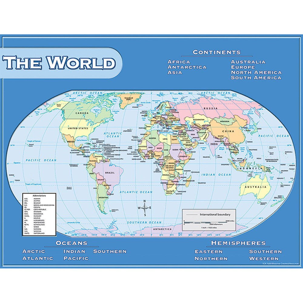 TCR7658 - World Map Chart 17X22 in Maps & Map Skills