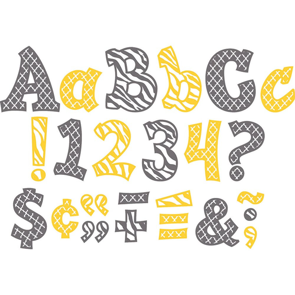 TCR77120 - Wild Moroccan Sassy Fonts 5In Lemon & Gray in Letters
