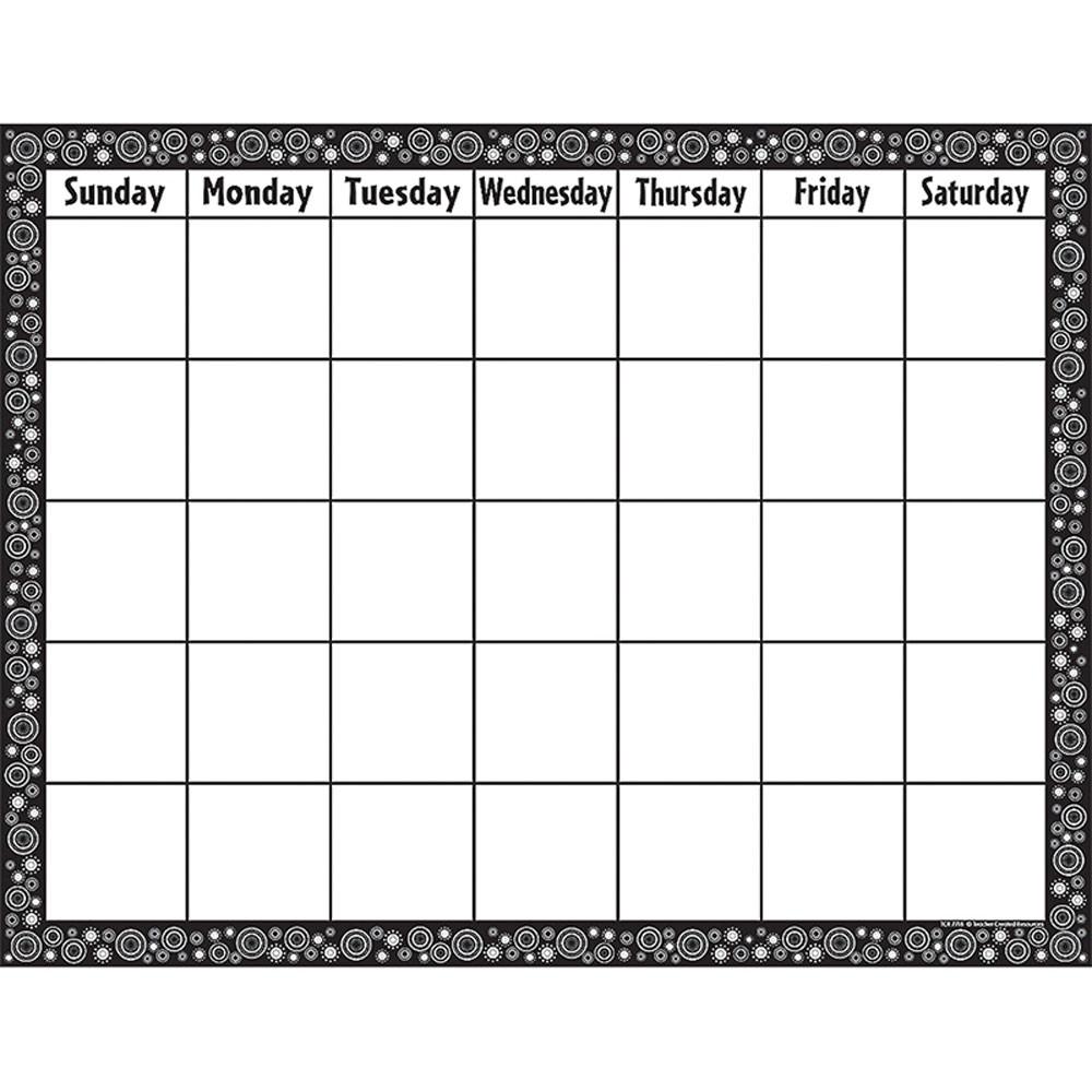 TCR7718 - Black/White Crazy Circles Blank Calendar Chart in Calendars