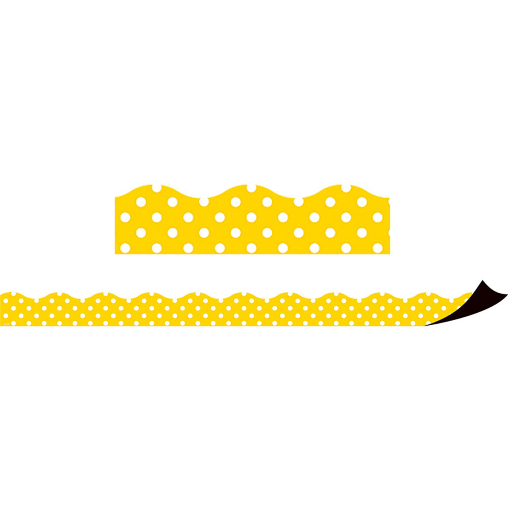 TCR77258 - Yellow Polka Dots Magnetic Border in Border/trimmer