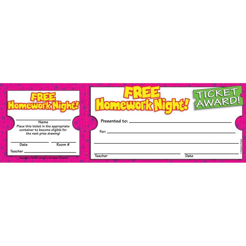 Free Homework Night Ticket Awards Tf 1617 Scholastic