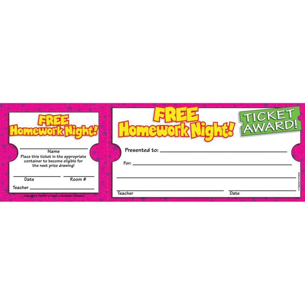 TF-1617 - Free Homework Night Ticket Awards in Tickets