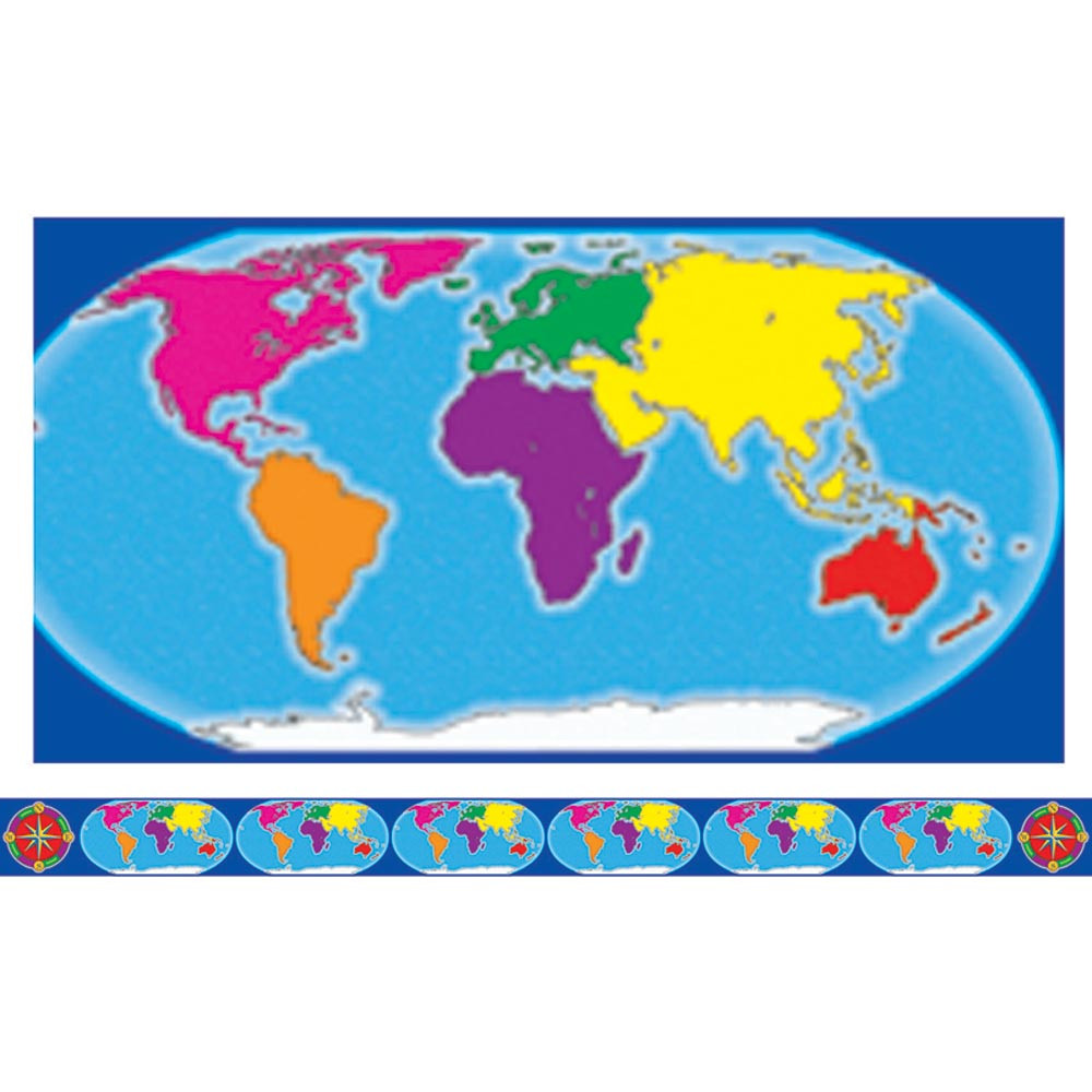 TF-8131 - Borders W/ Corners World Map & Compass in Border/trimmer