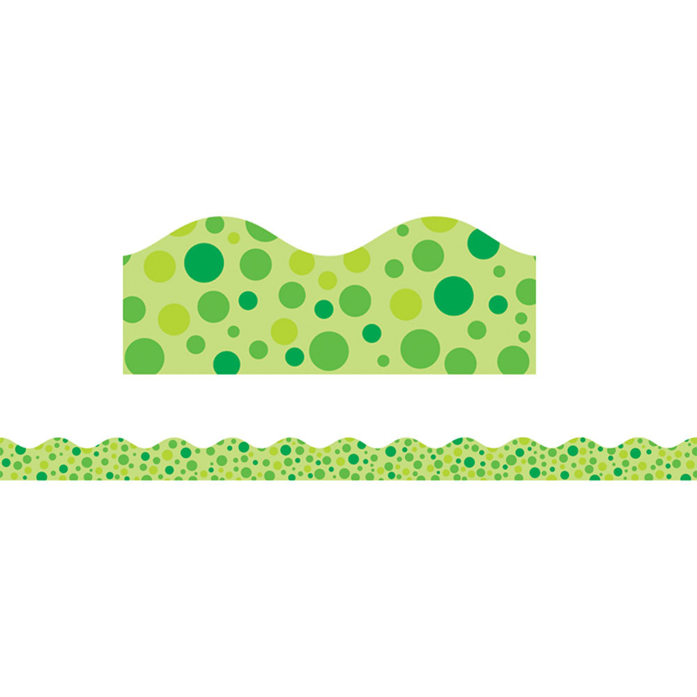 TF-8260 - Green Polka Dots Scalloped Trimmer in Border/trimmer