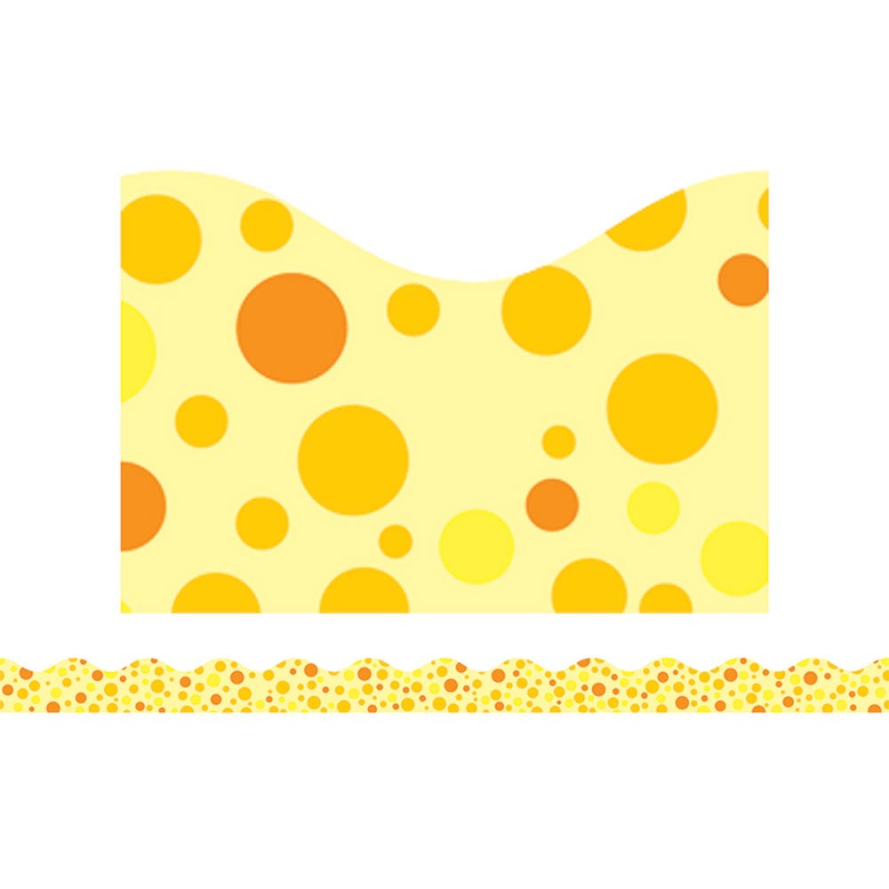 TF-8261 - Yellow Polka Dots Scalloped Trimmer in Border/trimmer