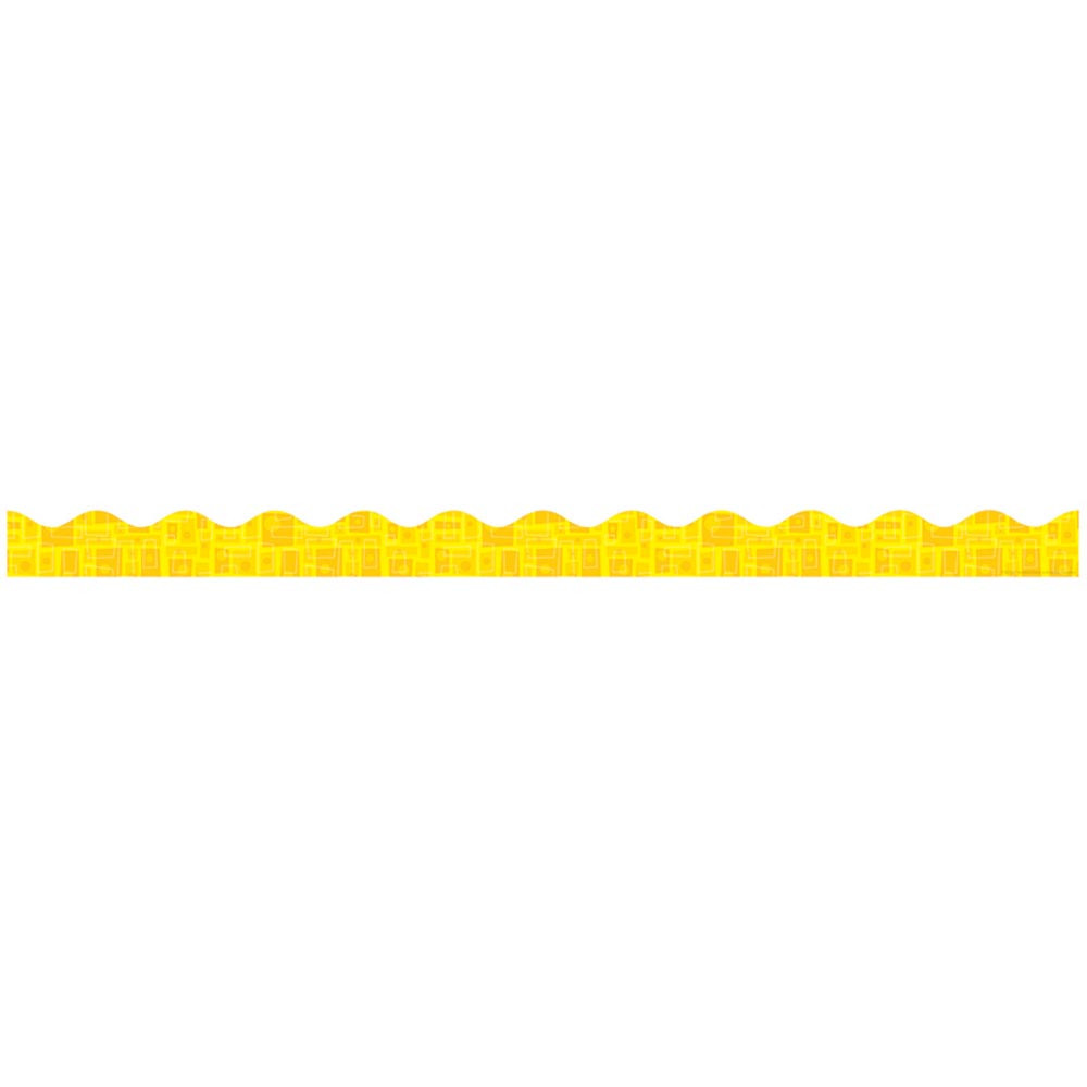 TF-8279 - Yellow Graphic Pattern Scalloped Trimmer Gr Pk-5 in Border/trimmer