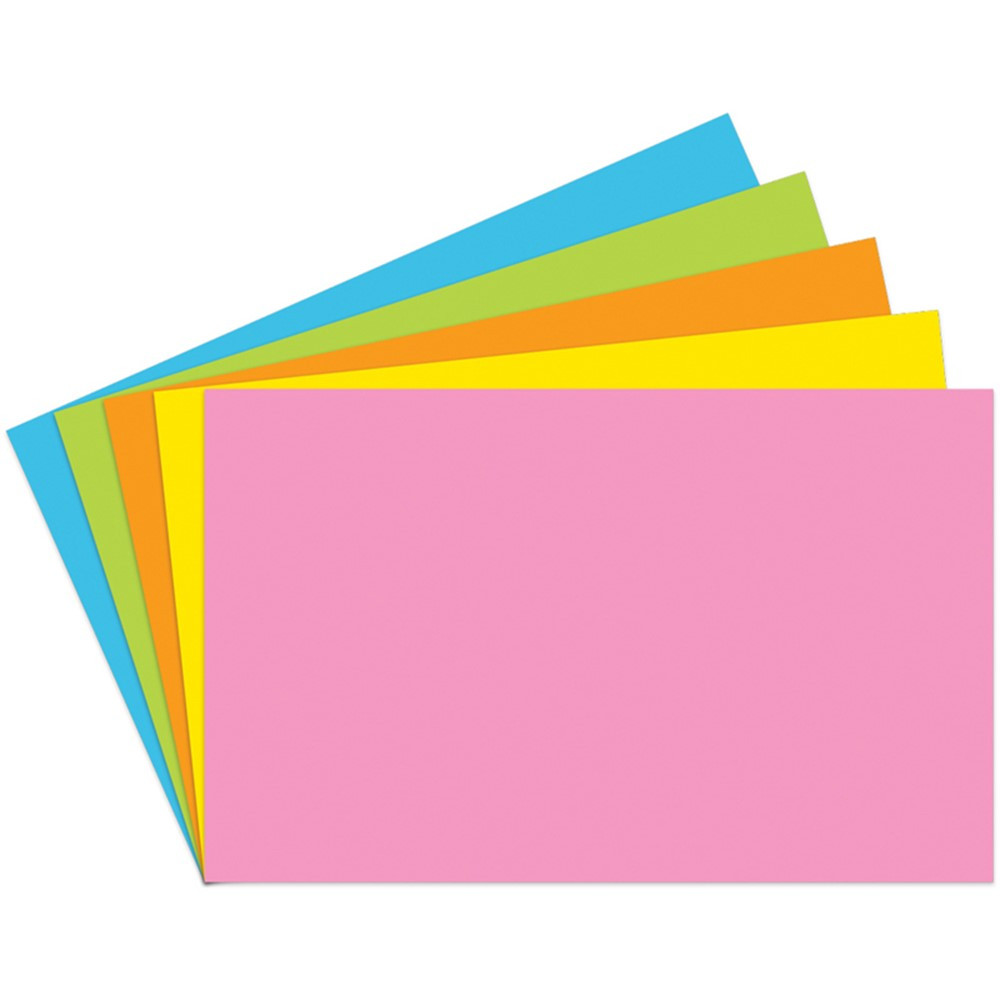 TOP364 - Index Cards 5X8 Blank 100 Ct Brite Assorted in Index Cards