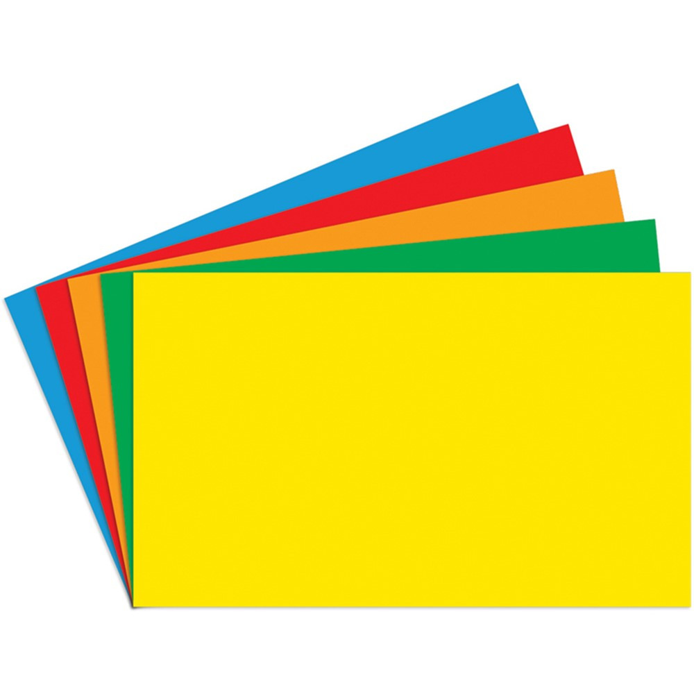 TOP3661 - Border Index Cards 4 X 6 Blank Primary Colors 100Ct in Index Cards