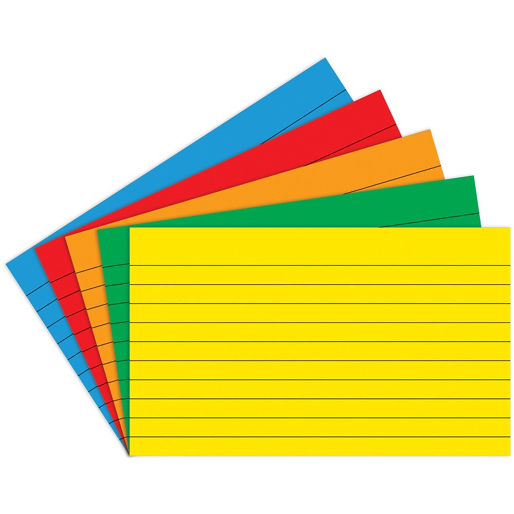 TOP3662 - Border Index Cards 3 X 5 Lined Primary Colors 75Ct in Index Cards
