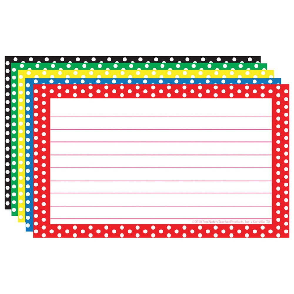 Printing On Index Cards: Border Index Cards 3X5 Polka Dot Lined - TOP3667