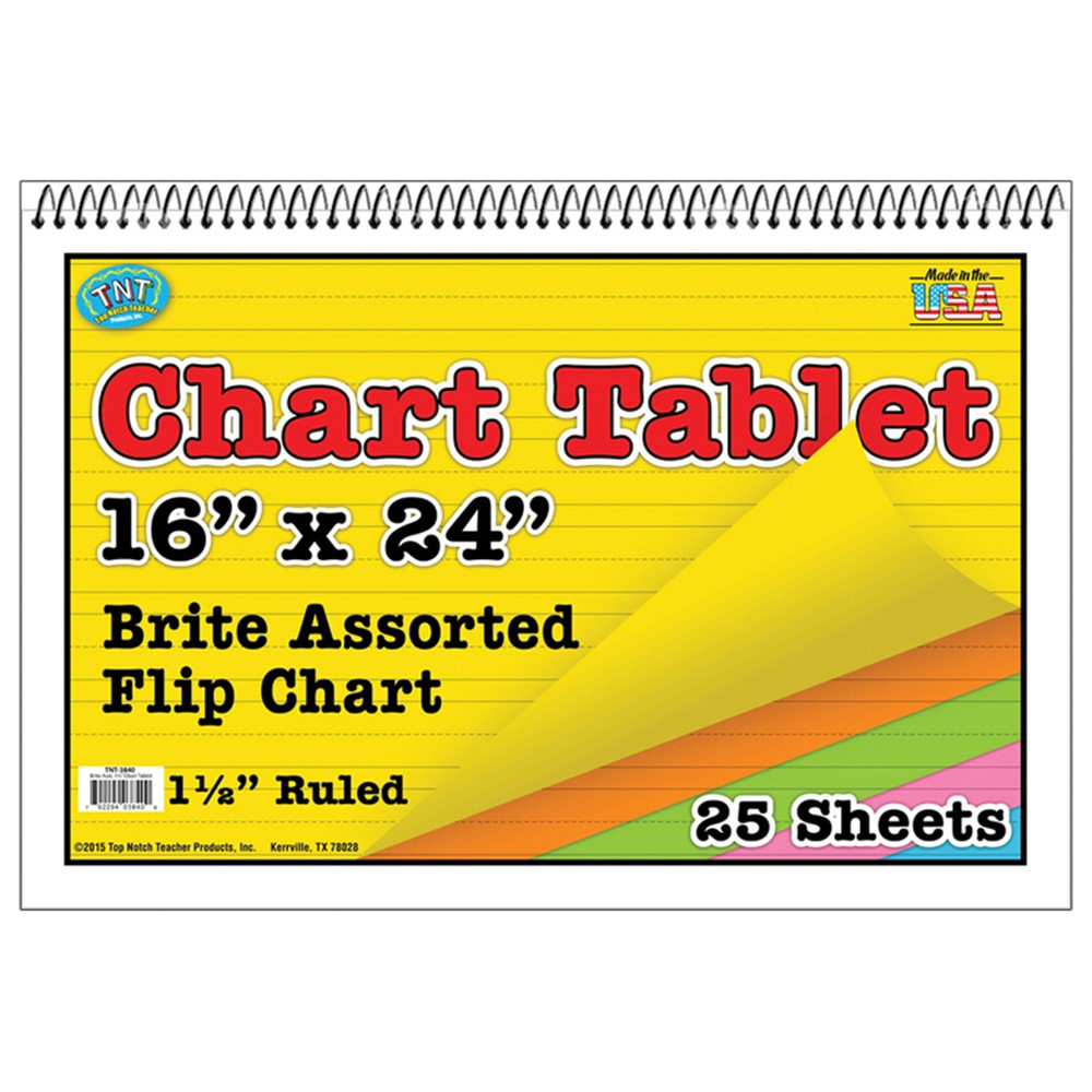 TOP3840 - Chart Tablets 16 X 24 Assorted 1/2 Ruled in Chart Tablets