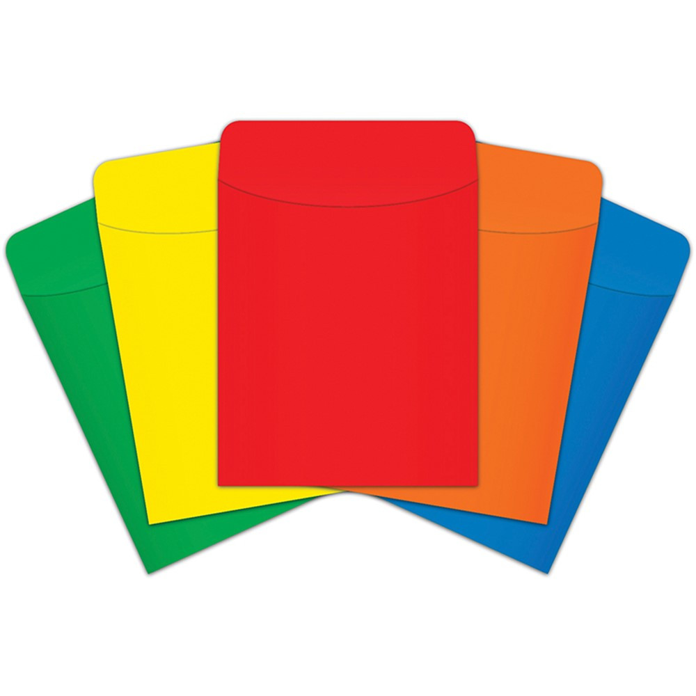 TOP4029 - Brite Pockets Peel & Stick 25/Pk Primary in Library Cards