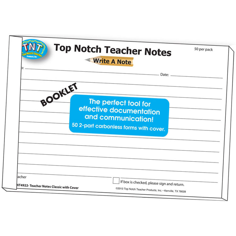 TOP4922 - Write A Note Booklet in Progress Notices