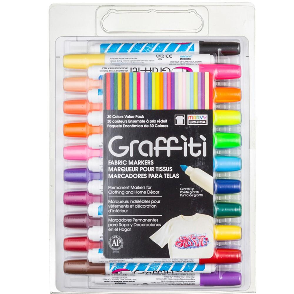 Graffiti Fabric Marker Set, 30 Markers - UCH56030A | Uchida Of America, Corp | Markers