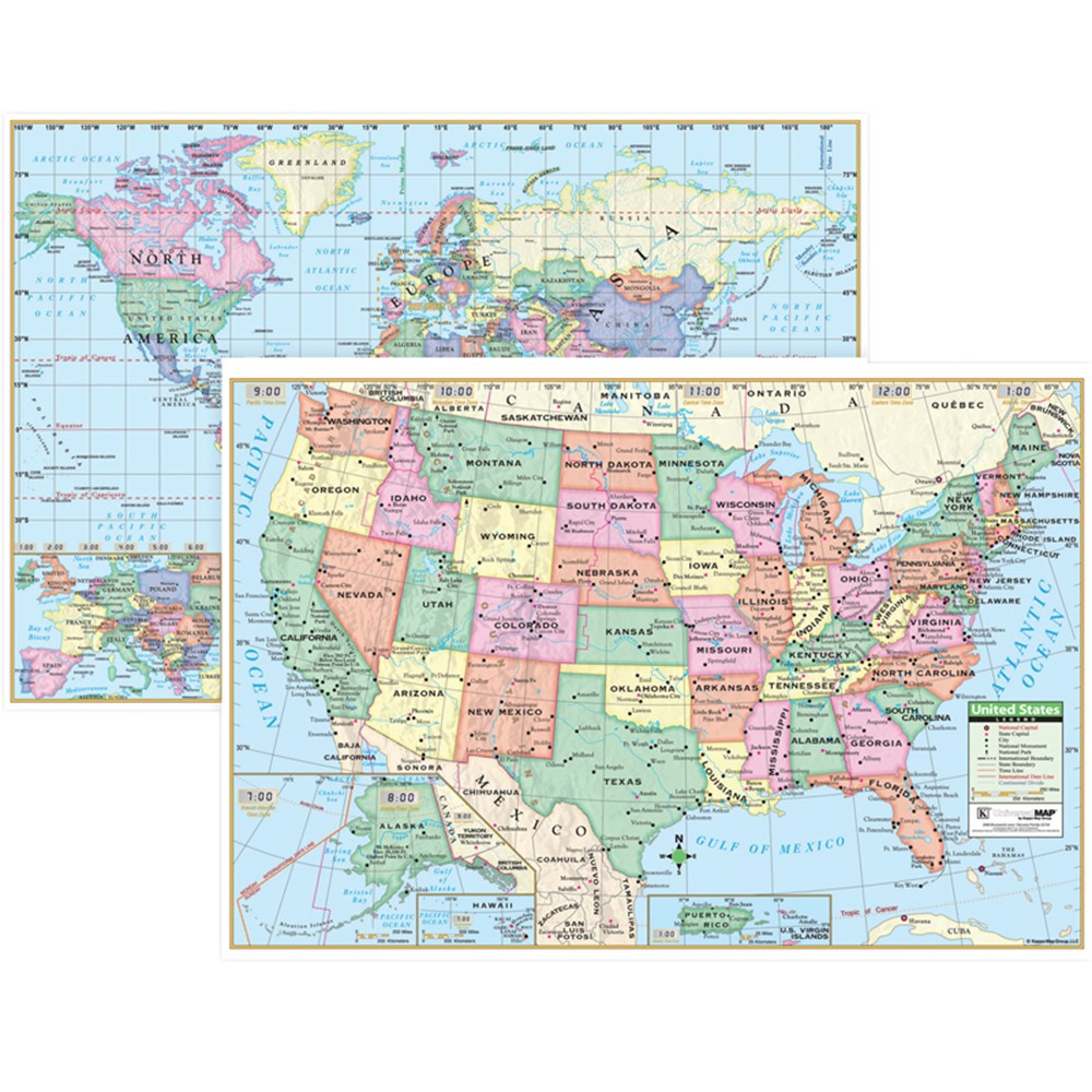 Us Beginner Classroom Wall Map By Kappa Map With Free ...