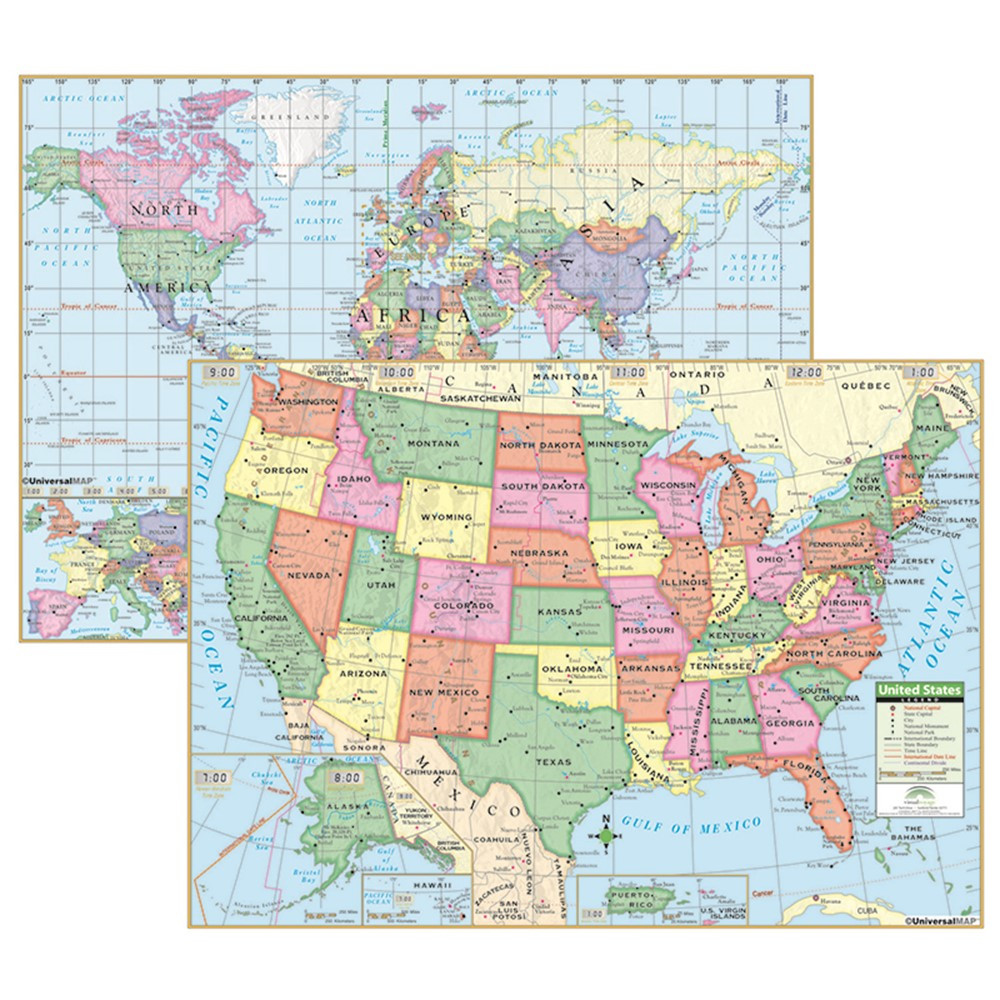 UNI15848 - Us & World Primary Deskpad Maps 5Pk in Maps & Map Skills