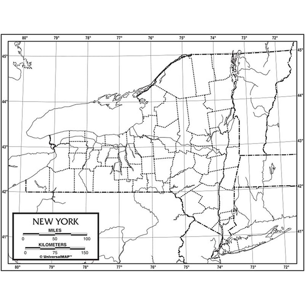 Outline Map Laminated New York Uni21254 Kappa Map Group
