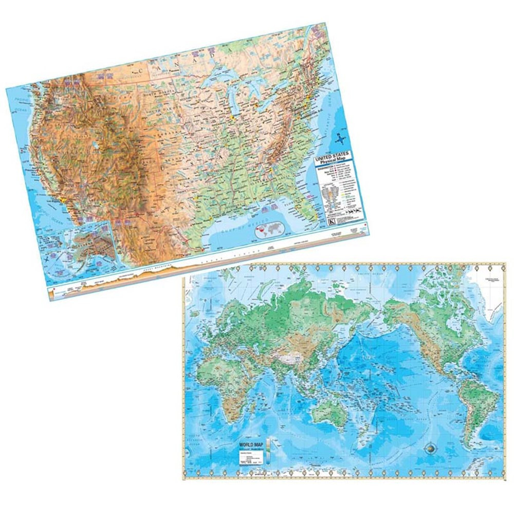 Us World Adv Physical Map Set Rolled 48X36 UNI2982327 Kappa