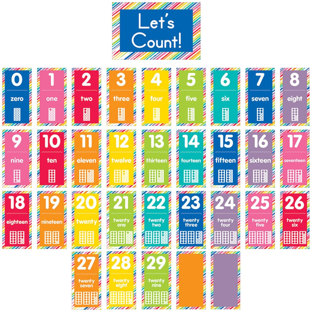 Just Teach Number Cards Bulletin Board Set