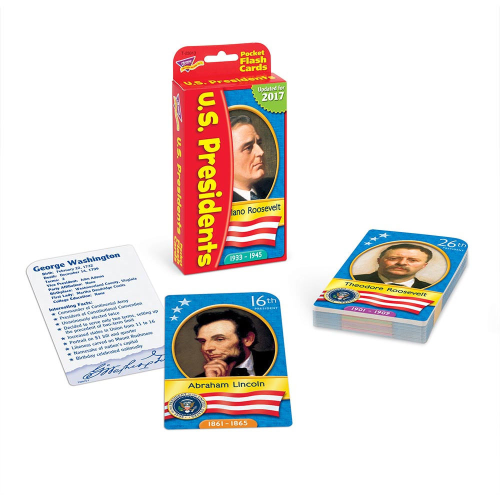 T-23013 - Pocket Flash Cards Presidents 56-Pk 3 X 5 Two-Sided Cards in Government