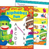 T-94118 - Alphabet Fun Sock Monkeys Wipe-Off Books in Language Arts