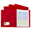 CLI32964 - Red Two Pocket Poly Portfolios With Prongs Pack Of 10 in Folders