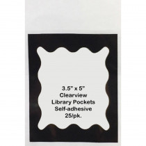 ASH10410 - Blk Scallop Border 3 1/2 X 5 Clear View Self Adhesive Library Pockets in Library Cards