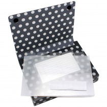 ASH90351 - 5Pk Index Card Holder Black & White Dots in Storage
