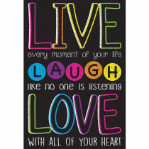 ASH91021 - Live Laugh Love Dry Erase Gl 45M Smart Poly Surface 13X19 Chart in Motivational