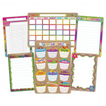 ASH91206 - 6 Pk Burlap Stitched Class Charts Smart Poly in Classroom Theme