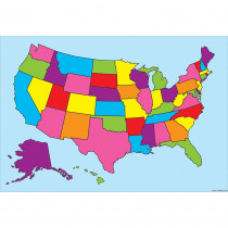 ASH91800 - 10 Pk Smart Poly Us Map Charts Dry-Erase Surface in Classroom Theme