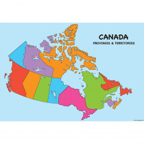 ASH91802 - 10 Pk Smart Poly Canada Map Charts Dry-Erase Surface in Classroom Theme