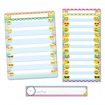 ASH94501 - 3 Pc Emoji Pocket Chart Set Smart Poly in Classroom Theme