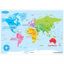 ASH95602 - 10Pk World Map Learn Mat 2 Sided Write On Wipe Off in Maps & Map Skills