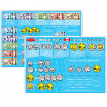 ASH95629 - 10Pk Canadian Money Learning Mat 2 Sided Write On Wipe Off in Money