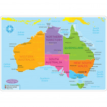 ASH95632 - 10Pk Australian Map Learning Mat 2 Sided Write On Wipe Off in Maps & Map Skills