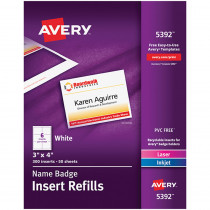 AVE05392 - Avery Name Badge Inserts in Name Tags