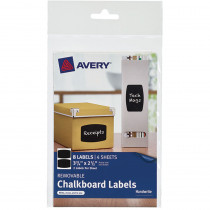 AVE73301 - Avery Rectangle 8Pk Removable Chalkboard Labels 3 3/4X 2 1/2 in Dry Erase Sheets