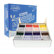 BAZ1235 - Washable Markers Jumbo 200Ct 8 Colors Class Pk in Markers