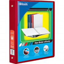 BAZ4143 - 3Ring Binder W/ 2 Pockets 1.5In Red in Folders