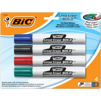 BICDECP41AST - Bic Great Erase Dry Erase Chisel Point Markers 4 Pack in Markers