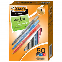 BICGSM609AST - Round Stic Xtra Life Pensbox Of 60 in Pens