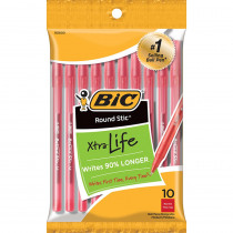 BICGSMP101RD - Bic Round Stic Ballpoint Pens Red 10Pk in Pens