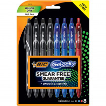 Gel-ocity Quick Dry Fashion Gel Pen, Medium Point (0.7mm), Assorted Inks, 8 Count - BICRGLCGP81AST | Bic Usa Inc | Pens