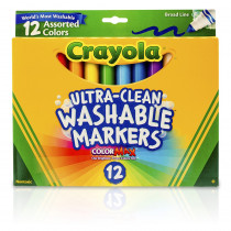 BIN587812 - Crayola Washable Markers 12Ct Asst Colors Conical Tip in Markers