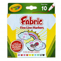 BIN588626 - Crayola Fine Line Fabric Markers 10 Colors in Markers