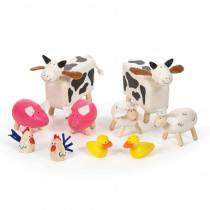 Wooden Farm Animals, Set of 10 - BJTT0143 | Bigjigs Toys | Toys